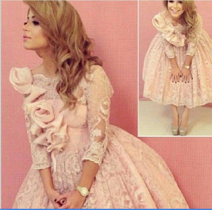Special Occasion Dresses 2015 Myriam Fares Haifa Tea-Length V-Neck Three Quarter Appliques Ball Gown dress Custome