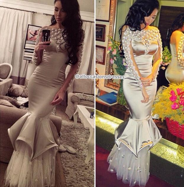 2015 Sexy Mermaid Sliver Prom Dresses Long Sleeve Saudi Arabia Dubai Beads Party Evening Vestido de festa RG527 - bridal_gown-2 store