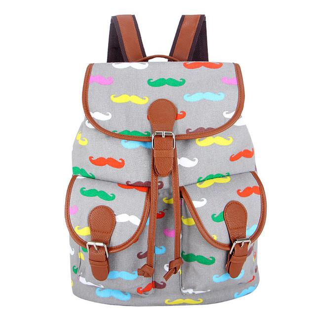 Эксклюзивный новый 2016 ручной усами печать холст рюкзак Bagpack рюкзак Mochila FeМиниna ...