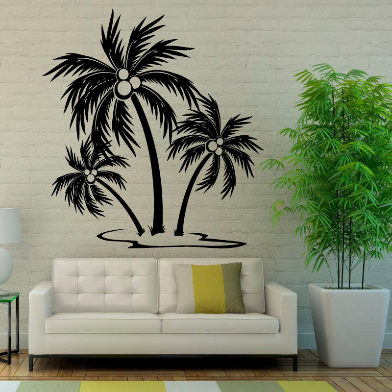 Beach Palm Trees Wall Decals Stickers Home Decor Vinyl Art Wall Sticker Waterproof For Living Room Decorations(China (Mainland))
