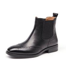 Chelsea Çizmeler Kadın Brogue Çizme BeauToday Marka Hakiki Deri Wingtip Kalite Dana Derisi Ayak Bileği Ayakkabı El Yapımı Artı Boyutu 03026(China)