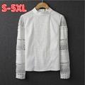 S 5XL 2016 Summer Women s Chiffon Blouses Plus Size Crochet White Lace Shirts Long Sleeve
