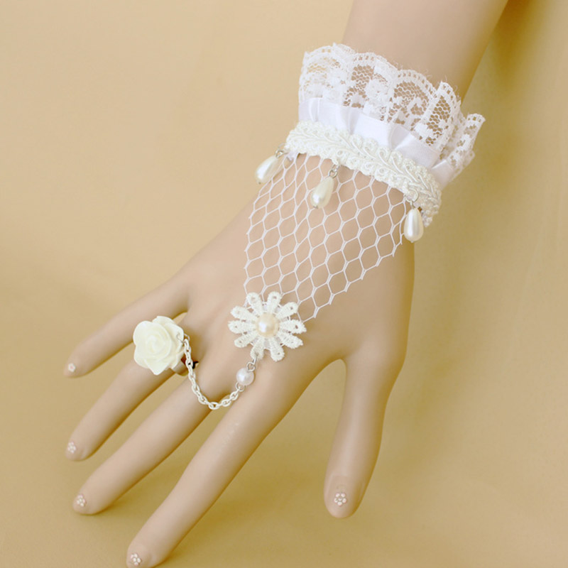 2016 Beaded Acrylic Hot Sale High Quality Elegant Pearl Lace Appliques Bridal Gloves Wedding Party Prom