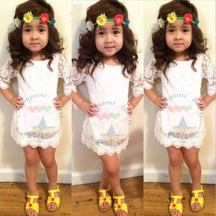 HOT 2015 Cute Summer fashion princess dress girls lace dress Half solid color white girls dresses girls dress baby girl clothes<br><br>Aliexpress