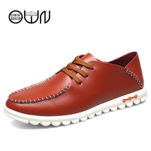 EU 38 TO EU 47 men casual shoes Spring Summer men shoes Adult Male Fashion Flat Leather Shoes Brown Black Red Brown For Walking