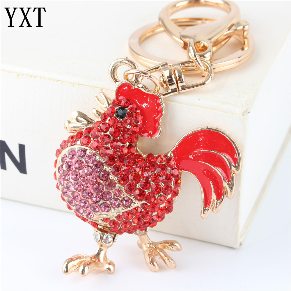 Red Cock Rooster Fashion Rhinestone Crystal Purse Bag car Key Ring chain Jewelry Christmas Party Wedding Gift(China (Mainland))