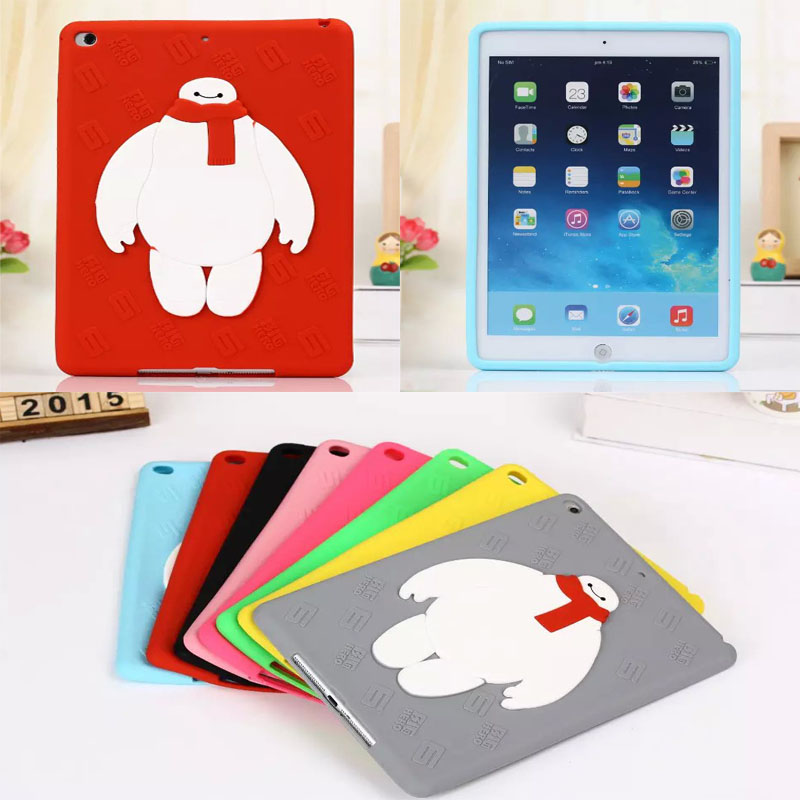 "Anti-knock Baymax Robot silicon tablet PC for 9.7"" Apple iPad Air 2 / 6 accessory protective case shell skin back cover(China (Mainland))"