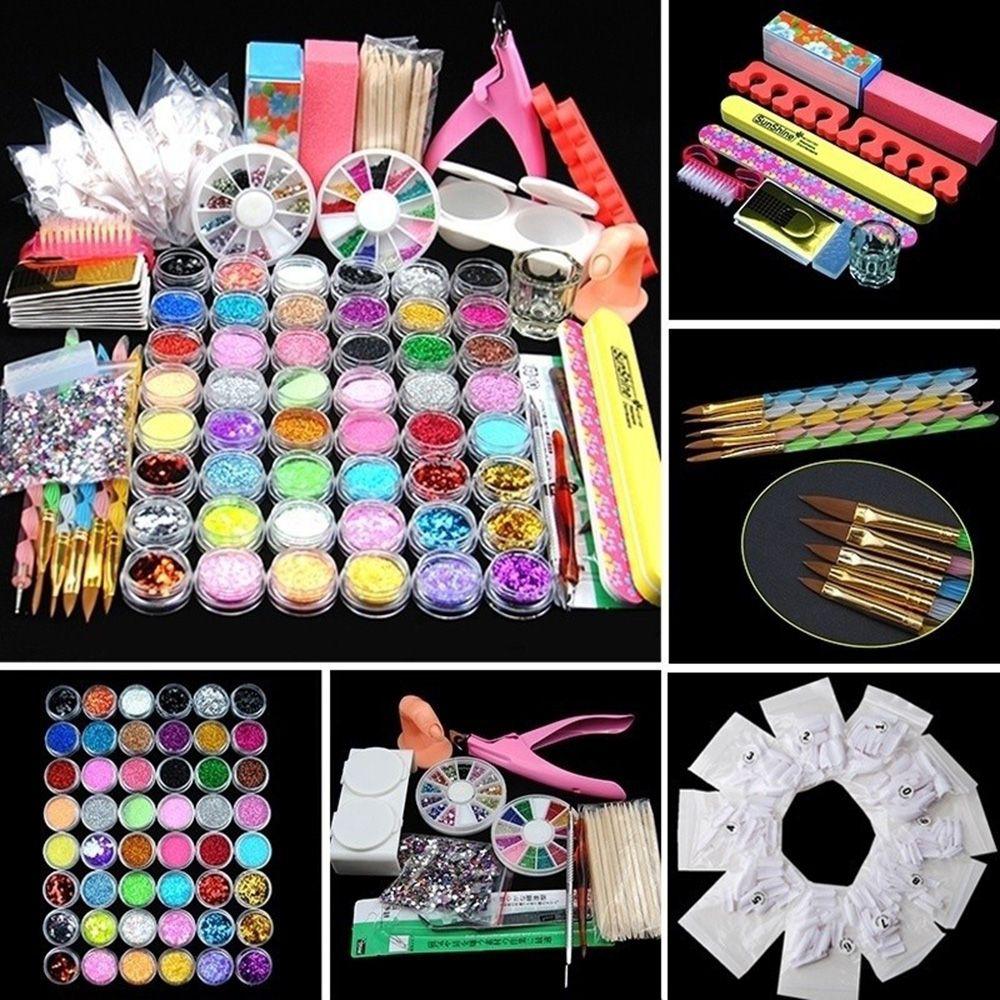 48 Pots Acrylic Nail Powder Glitters Nail Brush Clipper Nail Art Tools Decor Kit Manicure Tool Women Beauty Nail Care(China (Mainland))