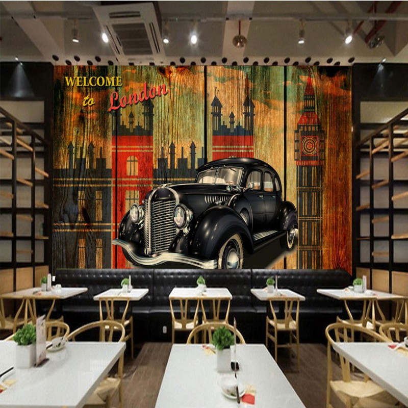 Retro car stereo promotion shop for promotional retro car for Cars wallpaper mural
