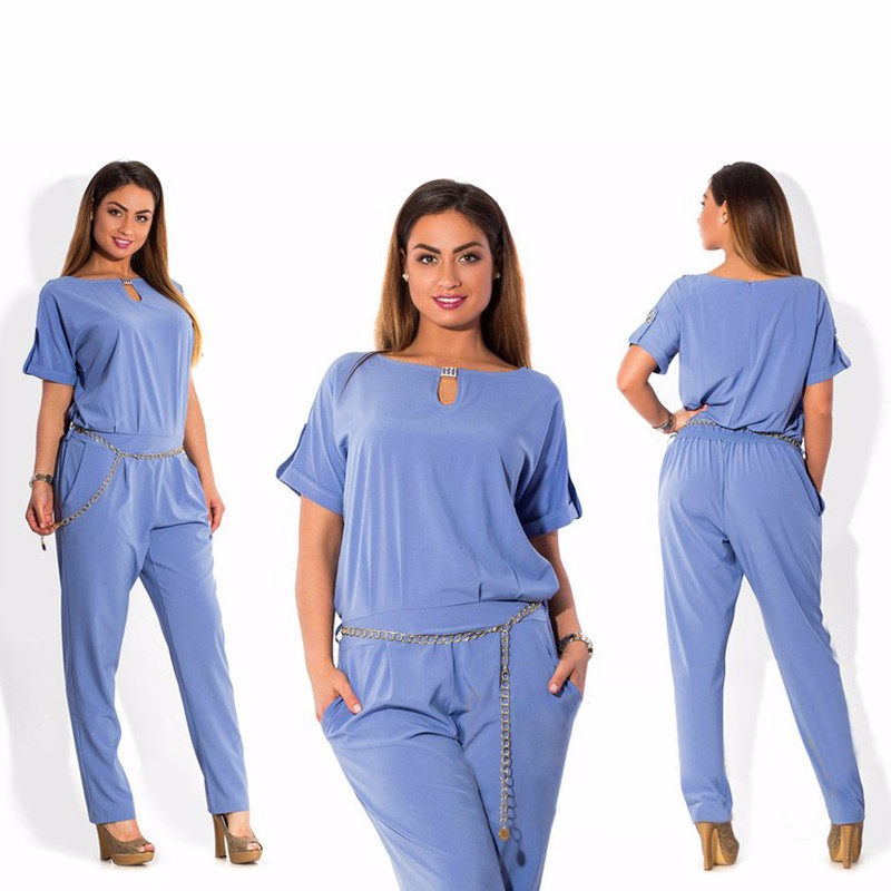 2016 Plus Size Woman Set O-Neck Regular Short Sleeve and Long Pants Solid color  Women Two Piece Hot Selling