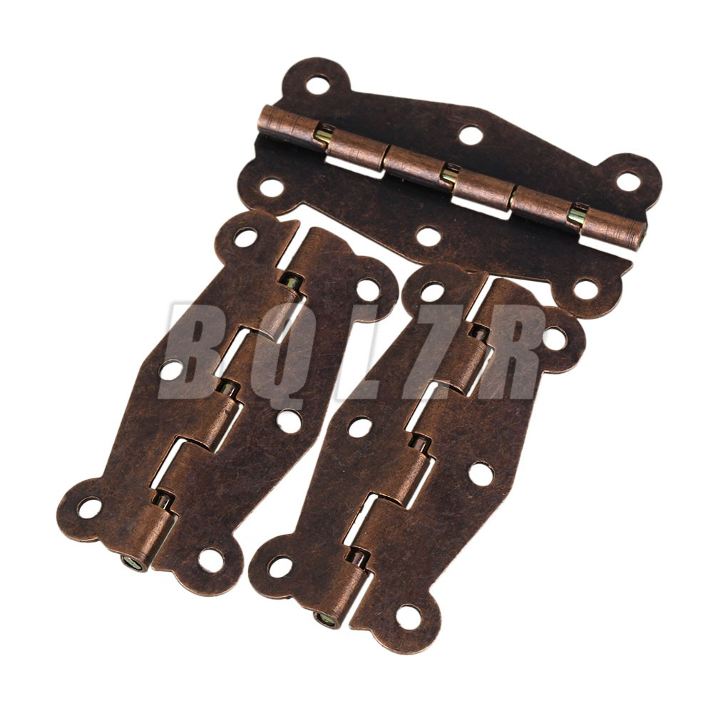 10pcs Iron D049 Antique Cabinet Surface Self-Closing Lace Hinges Red Bronze(China (Mainland))