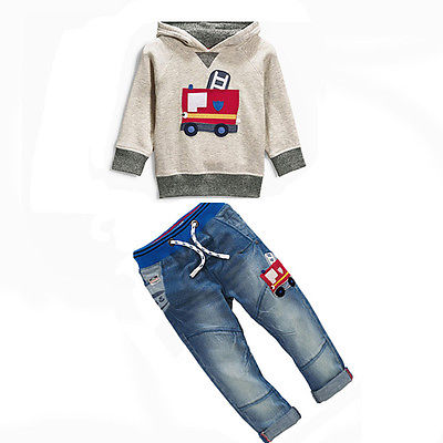 New Fashion Baby Kids Boys Spring Autumn Clothes Casual Cartoon Hooded Shirt Sweater + Jeans Pants Outfits 1 2 3 4 5 6 Years<br><br>Aliexpress