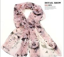 Fashion Marilyn Monroe Boutique Designs Long Silk Feel Chiffon Scarves Celebrity Look, 12pcs/lot Free Shipping(China (Mainland))