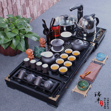 Tea set purple kung fu tea set solid wood tea tray teapot cup