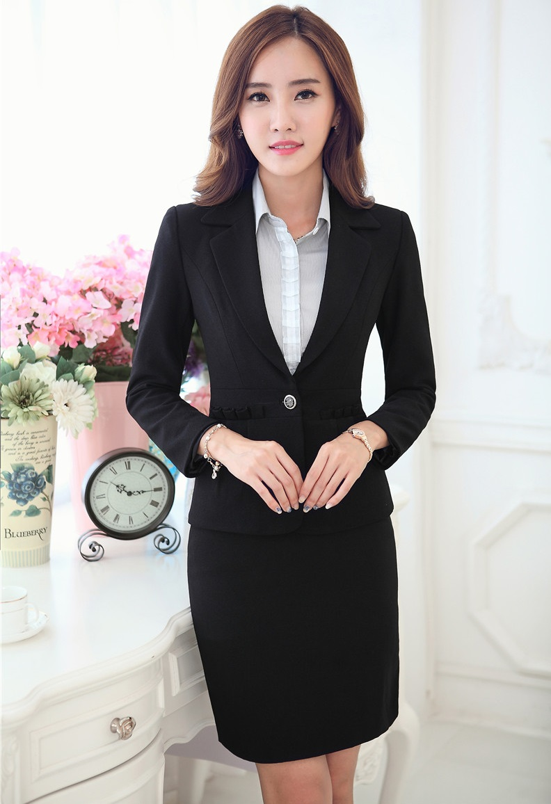 New Novelty Black Formal Uniform Design Slim Fashion Professional Business Suits Jackets And Skirt Ladies Blazers Outfits SetОдежда и ак�е��уары<br><br><br>Aliexpress