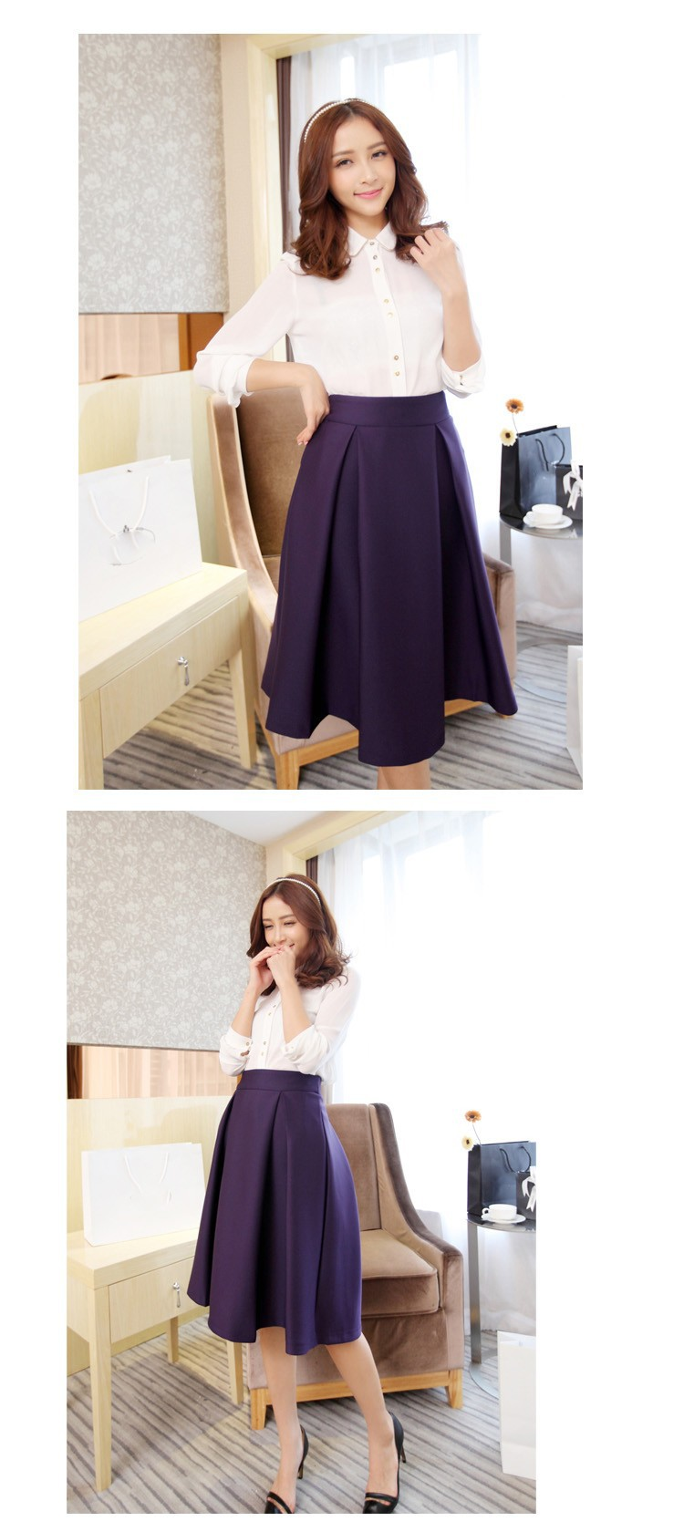 2016 Women Fashion Casual Plus Size Umbrella Skirts Vintage Expansion Pleated Skirt Candy Color Casual Knee Length Midi Skirt
