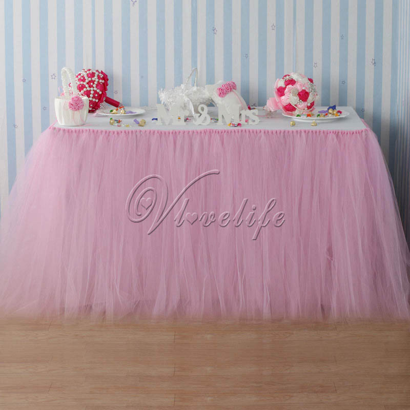 100cm x 80cm Light Pink Tulle Tutu Table Skirts Tableware for Wedding Party Baby Shower Birthday Xmas Reception Table Decor(China (Mainland))