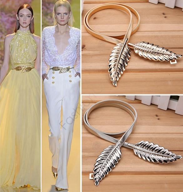 2015 Gold Plated Metal Women Casual Belt Alloy Leaf Elastic Waist Band Waistband Waist Belt Accessorie For Dress 29(China (Mainland))
