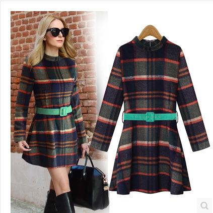 Платье облегающее с круглым вырезом свободного покроя длинный рукав, 201 Vestidos зима женщины приталенный стильный шотландка платье добавить шерсть тёплый