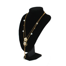 1pcs 29*21cm Girls Lady Woman Black Velvet Physique Necklace Present Pedestal Jewelry Chain Holder Bust Free / Drop Transport
