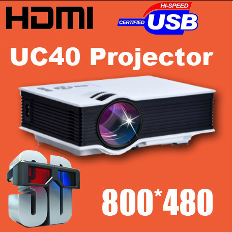 2015 New Genuine UC40 Projector Mini Pico portable LED LCD 3D proyector Projectors AV USB SD HDMI Projektor Beamer Wholesale(China (Mainland))