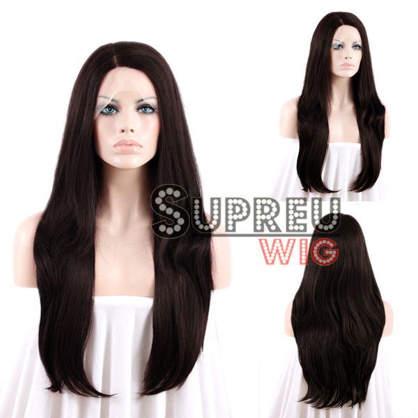 24 Long Straight Black Mixed Dark Brown Lace Front Wig Heat Resistant LW151<br><br>Aliexpress
