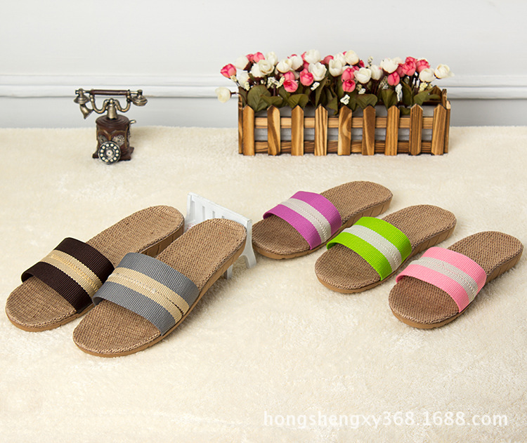 2016 New Hot Flax Slippers For Women Women Striped Cut-outs Indoor Slippers And Summer Shoes Flats Soft Cool Linen Slipper <br><br>Aliexpress