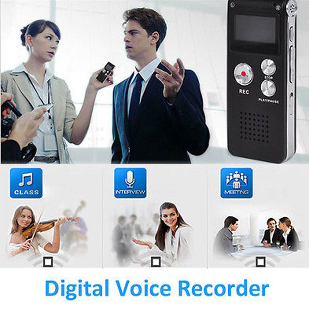 LCD Display Professional 8GB Digital Audio Voice Recorder Rechargeable Dictaphone USB Drive MP3 Player US Microphone/Earphone(China (Mainland))