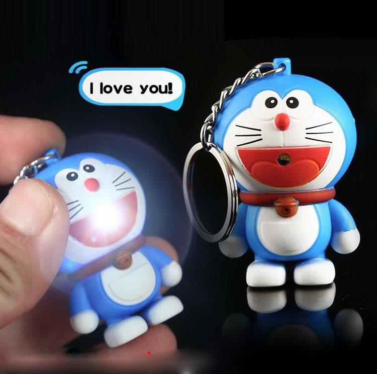 New Doraemon LED Flashlight Keychina with sound action toy figures Doraemon Keychain toys gift for child kids toys(China (Mainland))