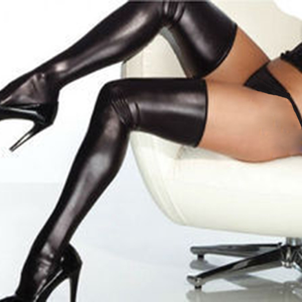 Hot Women Sexy Patent Leather Stockings Stretchy Non-slip Long Knee Socks Thongs Set XL188 FreeShippingОдежда и ак�е��уары<br><br><br>Aliexpress