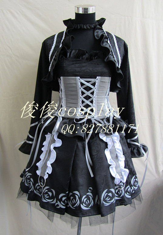 Punk Rave Gothic Gothic dress Black Velvet Vampire Knight Lace Bustle