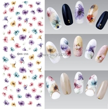 DS255 DIY Designer Water Transfer Nails Art Sticker Colorful Purple Fantacy Flowers Nail Wraps Foil Sticker manicure stickers
