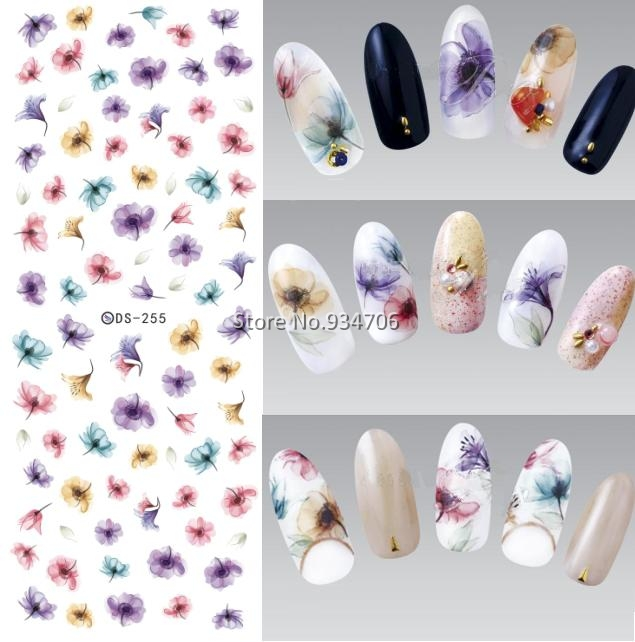 DS255 DIY Designer Water Transfer Nails Art Sticker Colorful Purple Fantacy Flowers Nail Wraps Foil Sticker manicure stickers(China (Mainland))