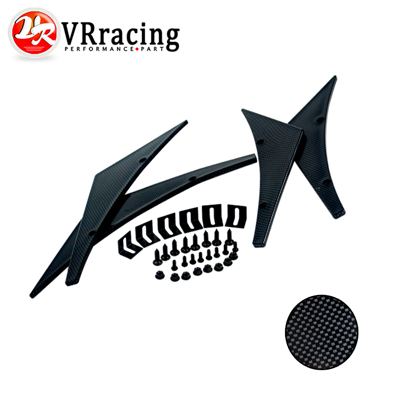 VR RACING- Carbon Fiber Universal Fit Front Bumper Lip Splitter Fins Body Spoiler Canards Valence Chin Winglets VR-BS22(China (Mainland))