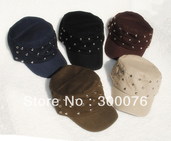 military style cadet hat with studded front/fashion rivet cadet hat/baseball cap(China (Mainland))