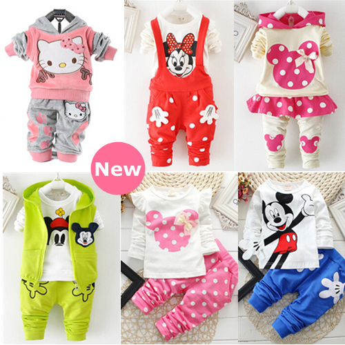 baby clothing set 2015 fashion active hello kitty children girl cotton clothing bebes sport suit minnie clothes kids tracksuit(China (Mainland))