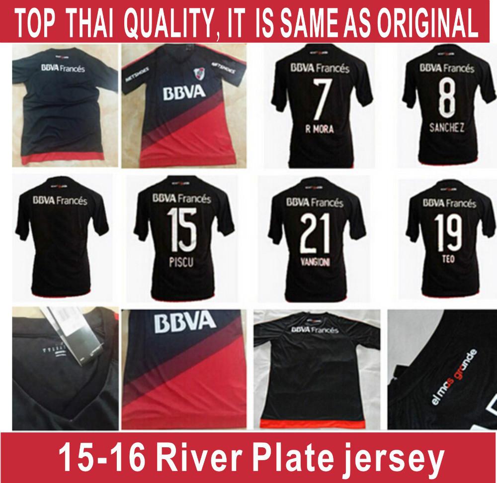 2015 16 RIVER PLATE jersey soccer 3 BALANTA 9 CAVENAGHI 21 VANGIONI 2016 River Plate AWAY jersey shirt 7 R MORA can customiz(China (Mainland))