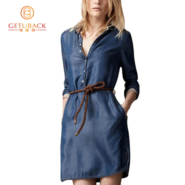 2016 Spring Fashion Celebrity Style Slim Jeans Women's Denim Dress Thin Blue Solid Long Sleeve Jeans Dress Free Sashes B032