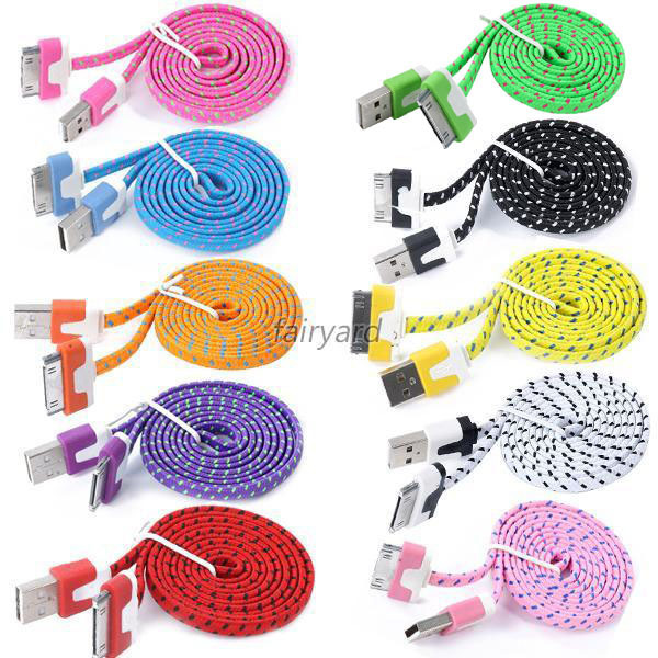 Hot Selling Colorful Braided Flat 3FT USB Sync Data Charger Cable Cord For Apple iPhone 4 4S Drop&free Shipping(China (Mainland))