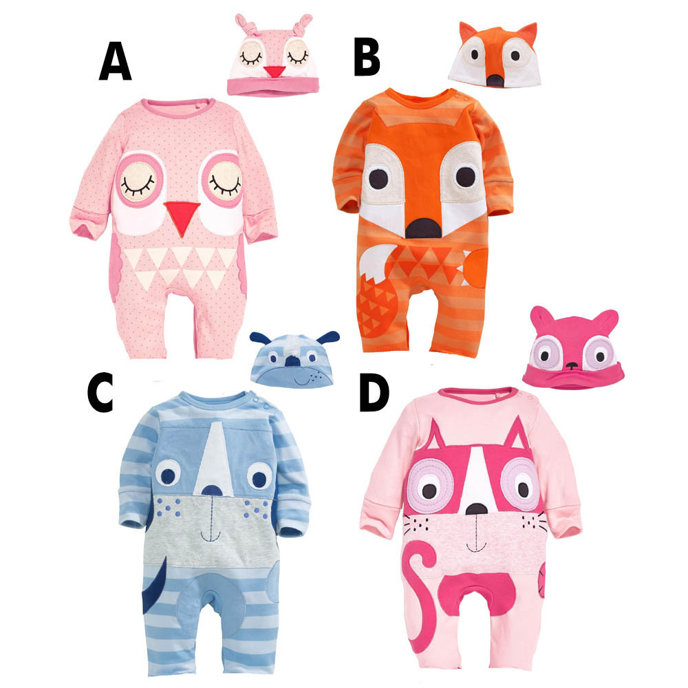 Carter's Baby Clothing Rompers Boys Girls Jumpsuit Fox /Bird Animal Romper+Hat 2PCS Clothes Infant Costume For Sleepwear&Pajamas(China (Mainland))
