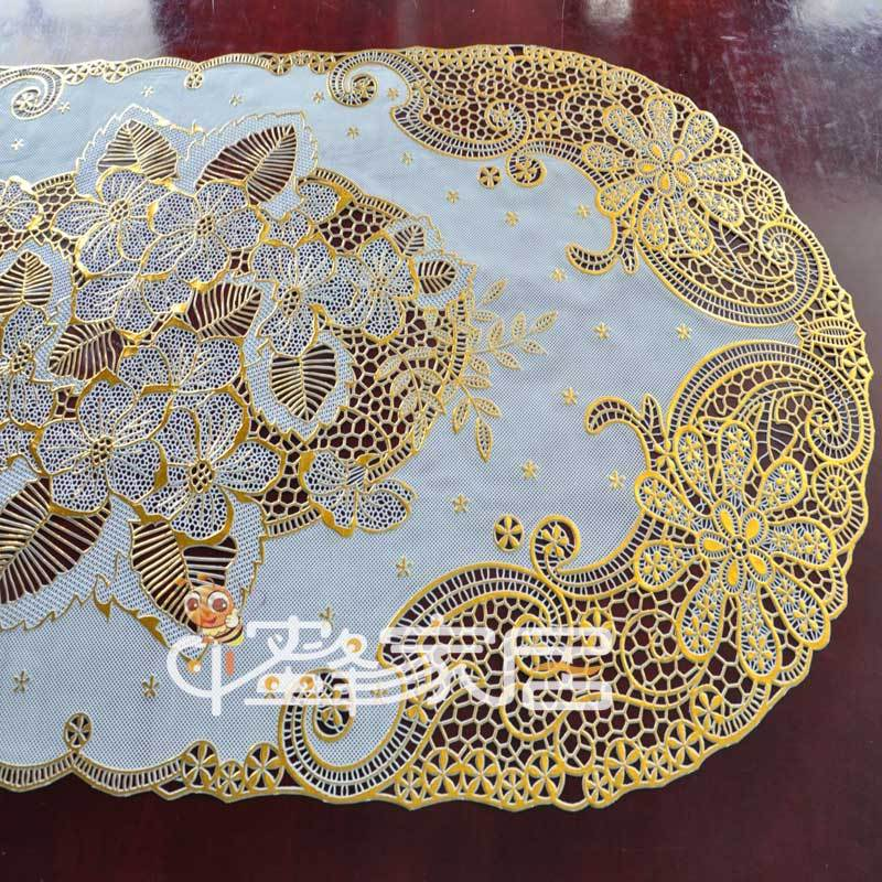 Fashion cutout bronzier quality table mats pvc table cloth waterproof oil disposable tablecloth 40 84cm(China (Mainland))