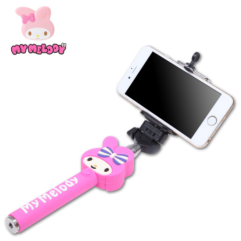 My Melody Cartoon Wired Selfie Stick monopod for Android palos Handheld selfie movil pau de self universal perche selfies palos(China (Mainland))