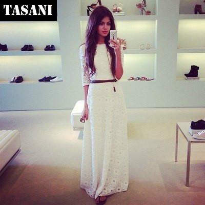 2015 New Women Lace Half Sleeves Elegant Dresses Casual Cute Maxi Long Party Dress American&European Style Ladies Clothing x444 - TASANI Fashion store