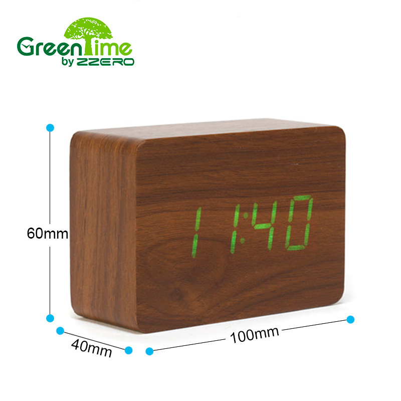 Alarm clock Desk Clock Small Digital LED Wooden Alarm Clock Calendars/Date/Time Acoustic Sound Control Sensing Wooden Home Clock(China (Mainland))