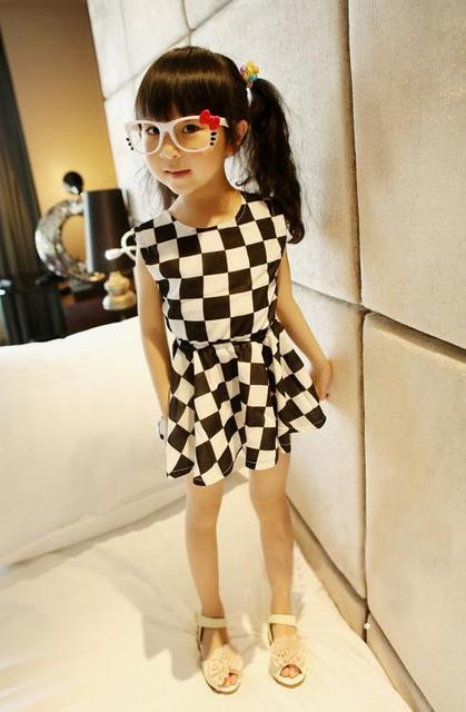 Retail 2013 girls clothes summer 2013 kids clothing girls summer tutu dress chiffon dress black and white plaid design