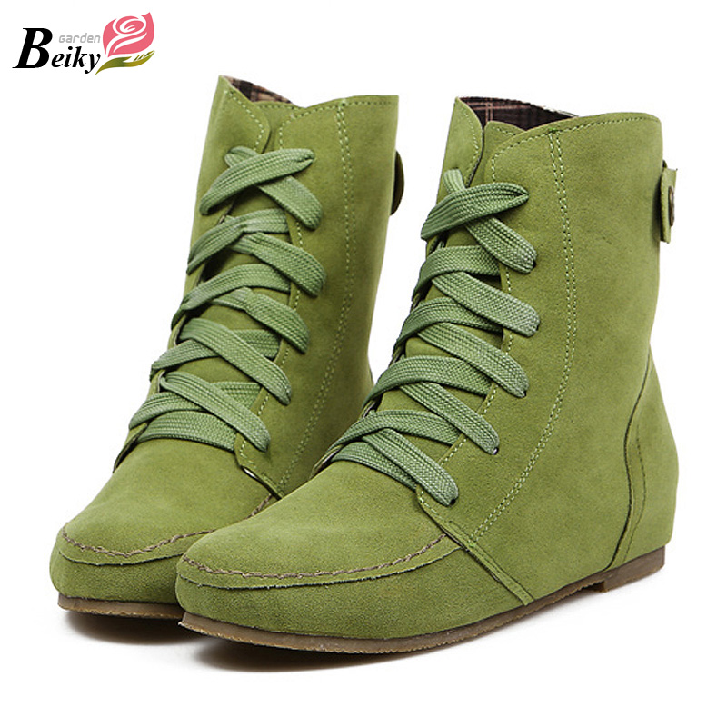 Spring Autumn Lace-up Flock Women's Ankle Boots Flat With Women Casual Shoes Plus Size 34-43 Candy Color Ladies Shoes WSH910(China (Mainland))