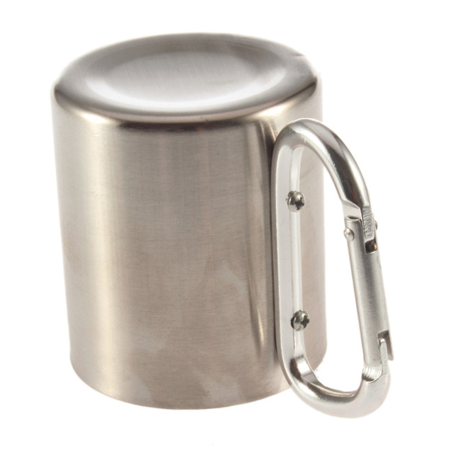 Stainless Steel Double Wall Camping Carabiner Cup