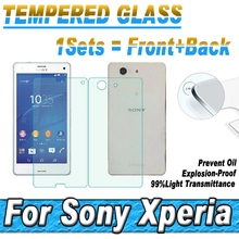 Buy Front+Back Rear Explosion Proof Film Sony Xperia Z Z1 Z2 Z3 Z4 Z5 M4 M5 Compact Plus Premium Tempered Glass Screen Protector for $1.77 in AliExpress store