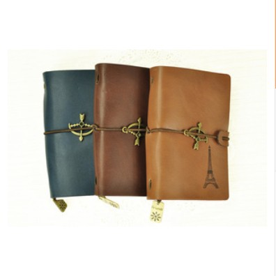 New Vintage Retro Genuine Leather Notebook Eiffel Tower Diary Journal Notepad Book with Pendant Creative Gift Free shipping 164(China (Mainland))