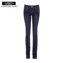 Горячая распродажа узкие джинсы девушка осень-летние новый 2015 карандаш джинсы для женщин мода тонкие голубые джинсы с низкой талией женские печатные джинсовые брюки(China (Mainland))